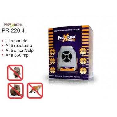 Aparat cu ultrasunete anti rozatoare, lilieci, vulpi, soareci, sobolani, veverite PR 220.4 Electronic Pest Repeller - 360 mp