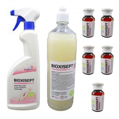 Pachet solutii pentru maini Bioxisept, Spray cu efect antiseptic, 750ml, Gel Dezinfectant, fara clatire 1l si 5buc. 100ml